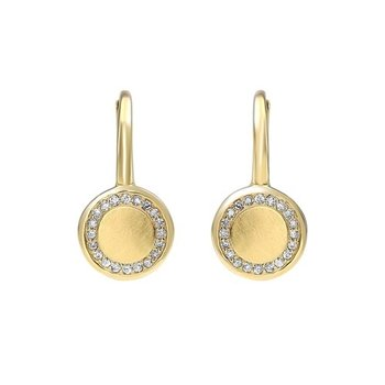 Diamond Eternity Halo Dangle Earrings in Gold (1/8ctw)