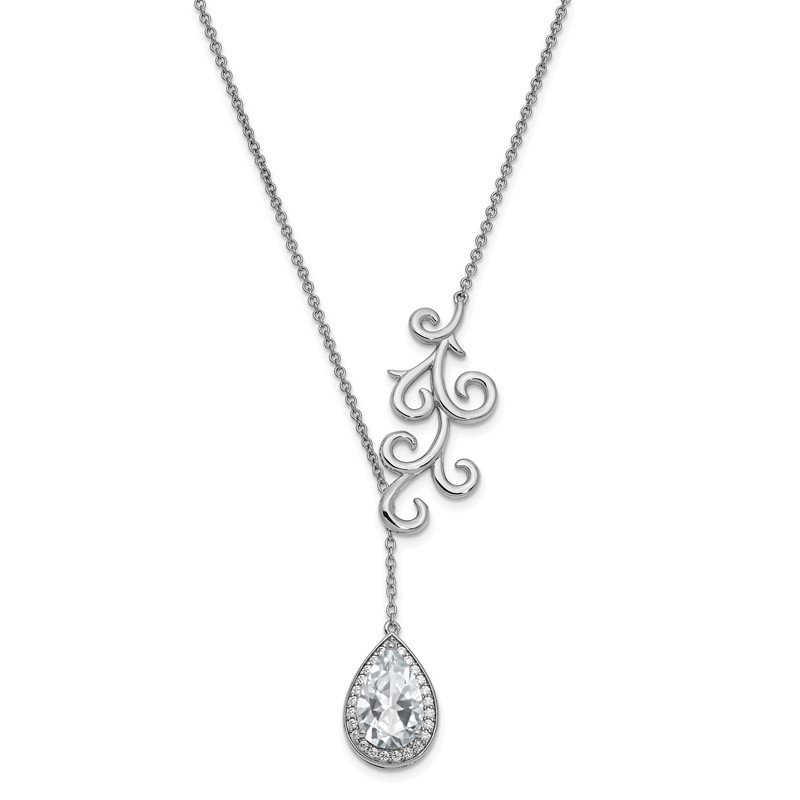 Quality Gold Sterling Silver CZ To My Bride 17.5in. Necklace w/ 3/4in. ext