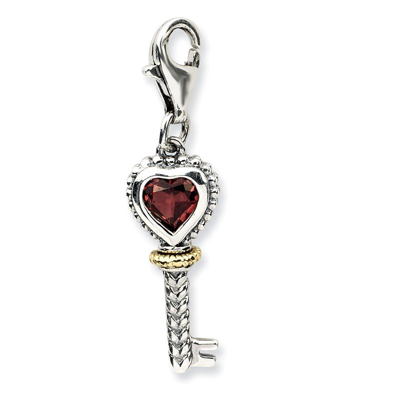 Sterling Silver w/14k Garnet Antiqued Key w/Lobster Clasp Charm