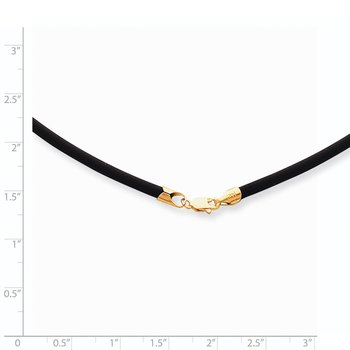 14k 2mm 16in with Yellow Clasp Black Rubber Cord Necklace