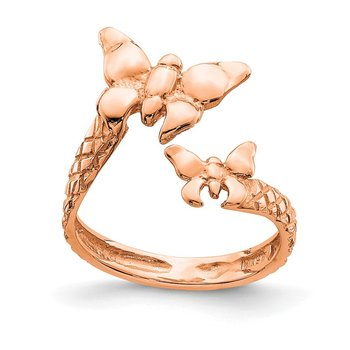 14K Rose Polished & Textured Butterfly Toe Ring
