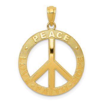 14k PEACE LOVE FAITH HOPE Peace Sign Pendant