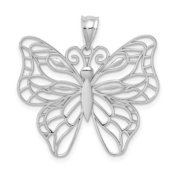 14k White Gold Polished Large Butterfly Pendant