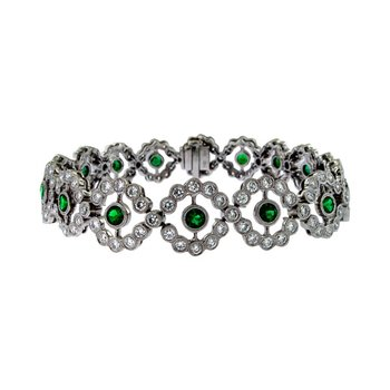 Emerald & Diamond Vintage Flower Bracelet
