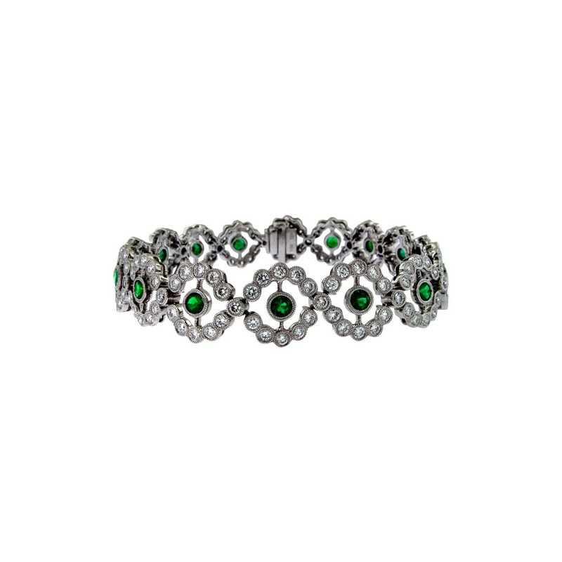 James Breski Emerald & Diamond Vintage Flower Bracelet