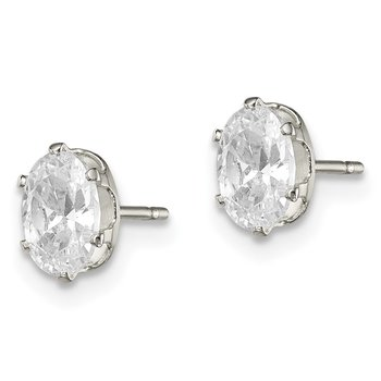 Sterling Silver 6x4 Oval Snap Set CZ Stud Earrings