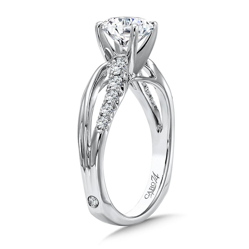 Caro74 Classic Elegance Collection Diamond Criss Cross Engagement Ring in 14K White Gold with Platinum Head (1-1/4ct. tw.)