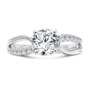 Classic Elegance Collection Diamond Criss Cross Engagement Ring in 14K White Gold with Platinum Head (1-1/4ct. tw.)