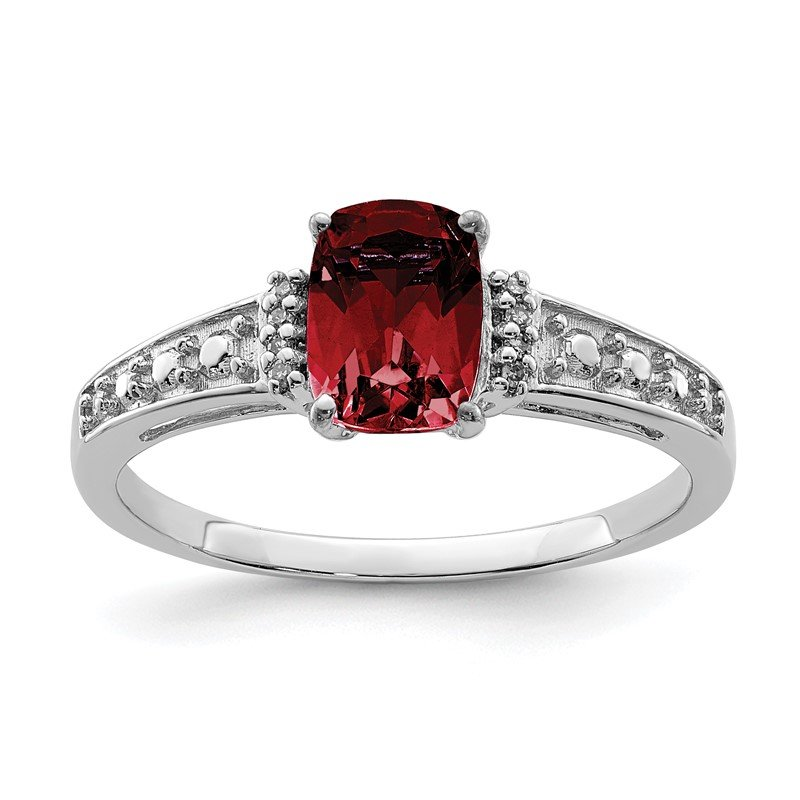 Quality Gold Sterling Silver Rhodium Plated Diamond and Garnet Cushion Ring