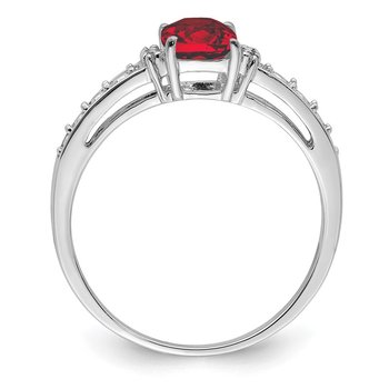 Sterling Silver Rhodium Plated Diamond and Garnet Cushion Ring