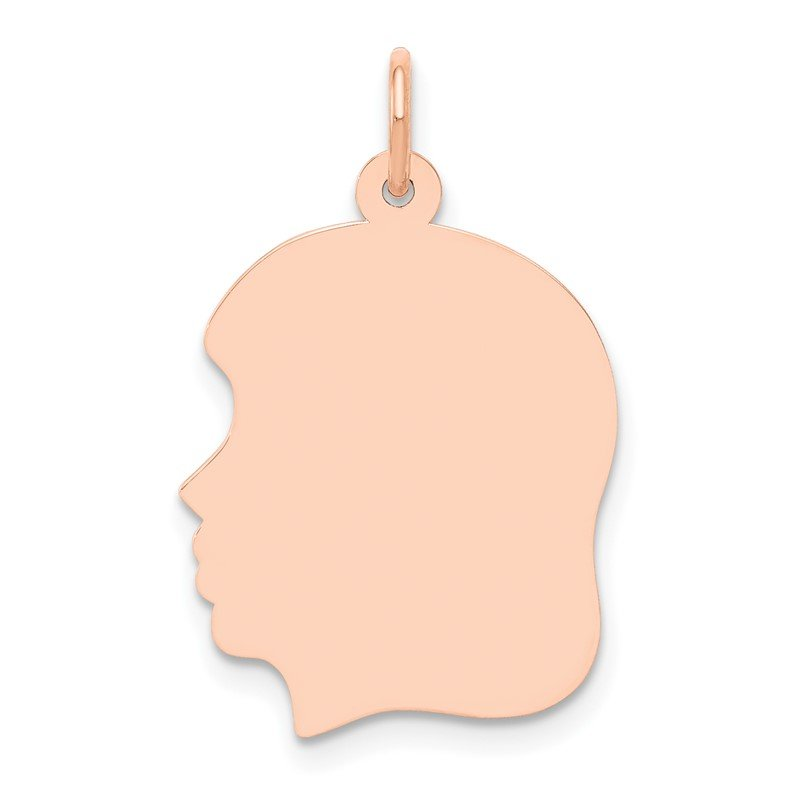 Quality Gold 14k Rose Plain Medium.013 Gauge Facing Left Engraveable Girl Head Charm