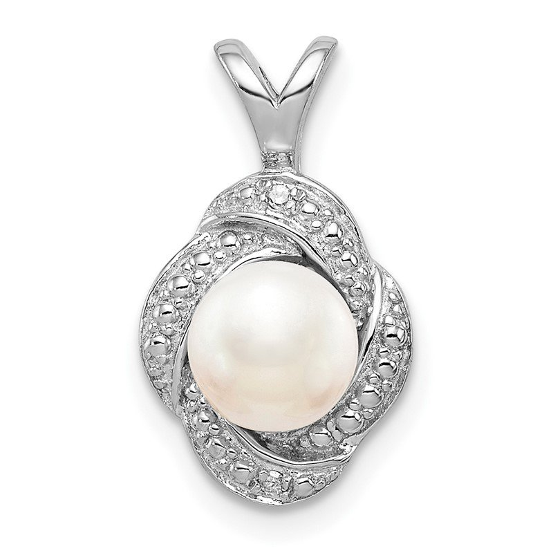 Quality Gold Sterling Silver Rhodium-plated Diam. & FW Cultured Pearl Pendant