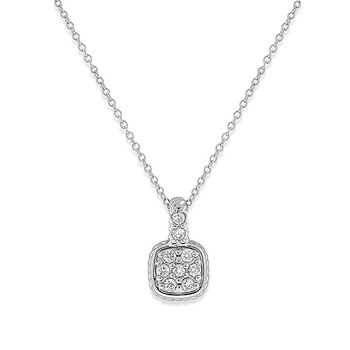 Diamond Cushion Drop Necklace in 14k White Gold with 9 Diamonds weighing .18ct tw.
