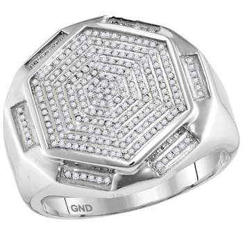 10kt White Gold Mens Round Diamond Hexagon Cluster Ring 1/2 Cttw
