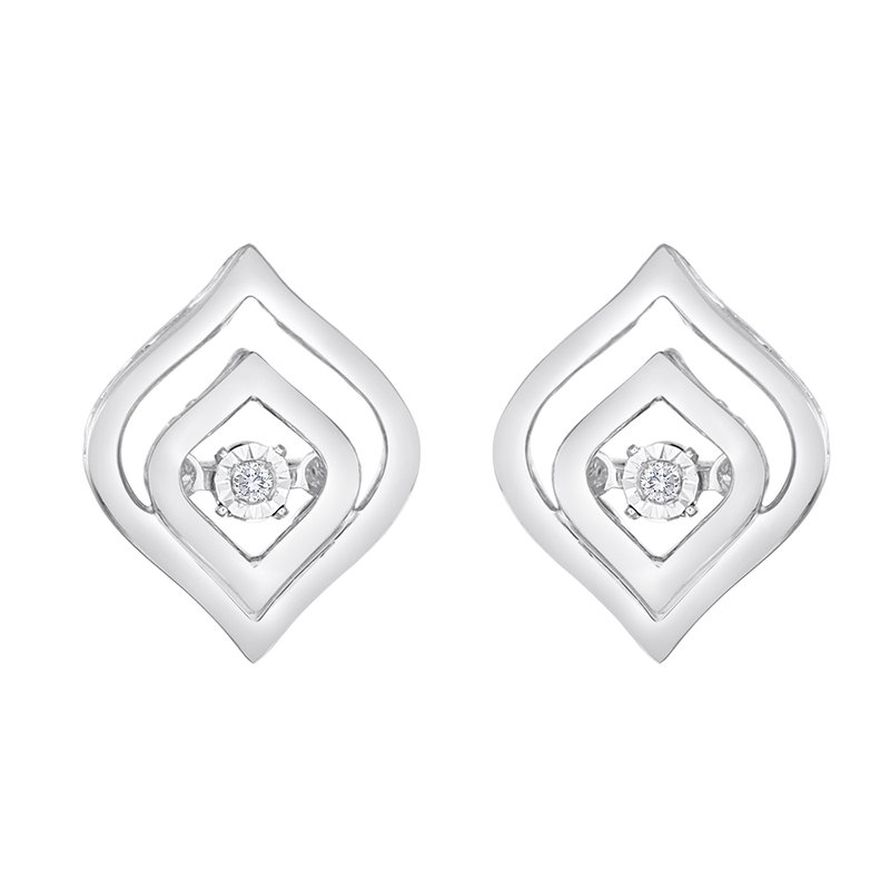 Heartbeat Collection SILVER 0.02CTW HEARTBEAT WITH MIRACLE PLATE EARRING