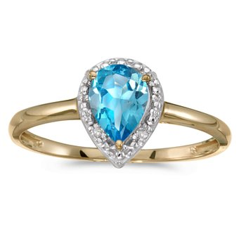14k Yellow Gold Pear Blue Topaz And Diamond Ring