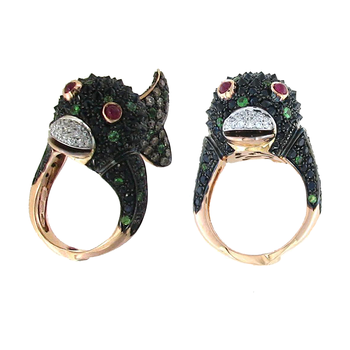 18KT GOLD FISH RING WITH DIAMONDS, GREEN GARNET, BLACK SAPPHIRES AND RUBIES