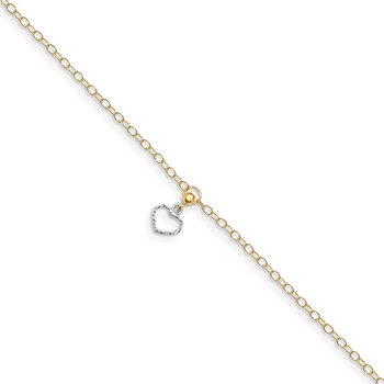 14K Two-tone Polished Heart Dangle 10in Plus 1in ext Anklet