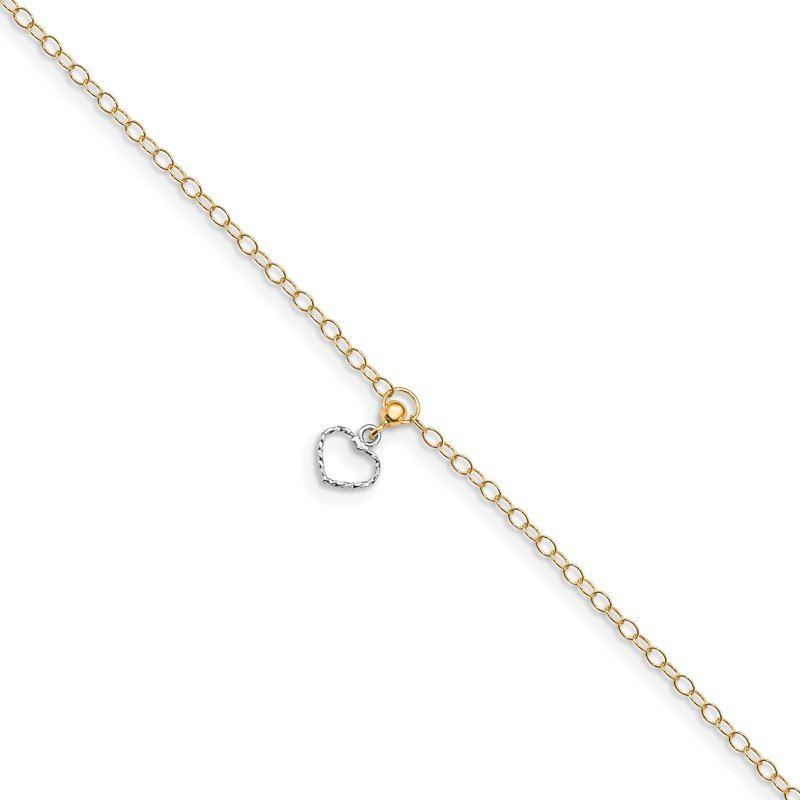 Quality Gold 14K Two-tone Polished Heart Dangle 10in Plus 1in ext Anklet
