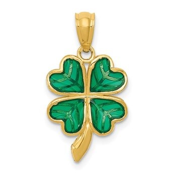 14k Polished Green Enameled Shamrock Pendant