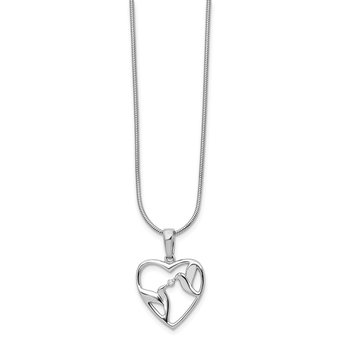 SS White Ice Diamond Bird & Heart Necklace