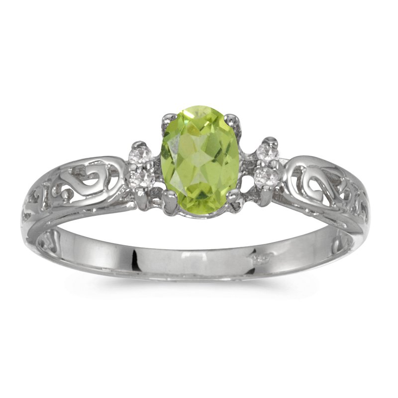 Color Merchants 14k White Gold Oval Peridot And Diamond Filagree Ring