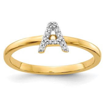 14k White Gold Diamond Initial A Ring