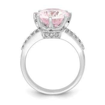 Sterling Silver Rhodium-plated 12x10 Oval Pink & White CZ Ring