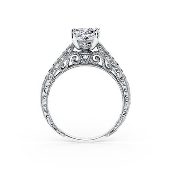Home Try on Engraved Vintage Inspired Solitaire Engagement Ring