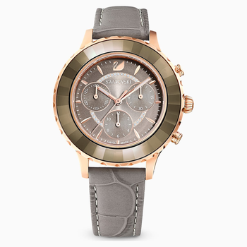 Octea Lux Chrono Watch, Leather Strap, Gray, Rose-gold tone PVD