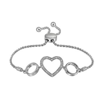 Sterling Silver Womens Round Diamond Heart Love Bolo Bracelet 1/20 Cttw