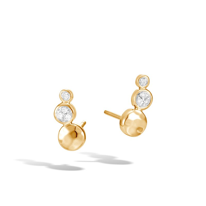 JOHN HARDY Dot Stud Earring in Hammered 18K Gold with Diamonds