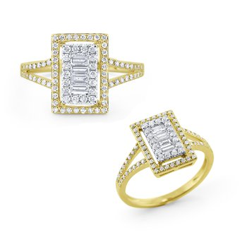 14K Diamond Rectangular Statement Ring