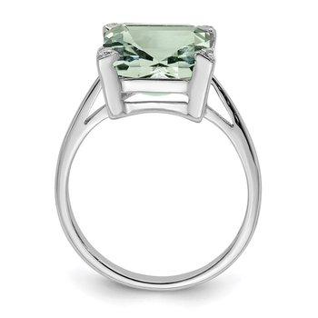 Sterling Silver Rhodium Green Quartz Diamond Ring