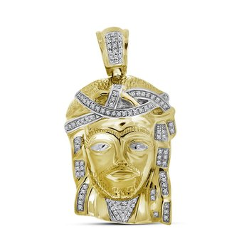 10k Yellow Gold Mens Real Diamond Jesus Christ Piece Large Charm Pendant 1/4 Cttw