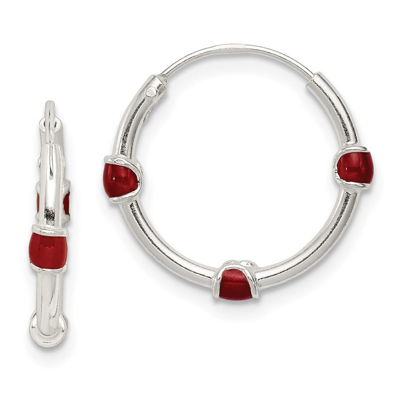 Quality Gold Sterling Silver Polished Red Enamel Endless Hoop Earrings