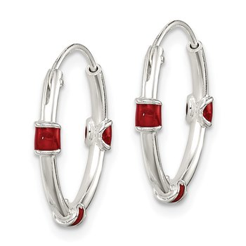 Sterling Silver Polished Red Enamel Endless Hoop Earrings