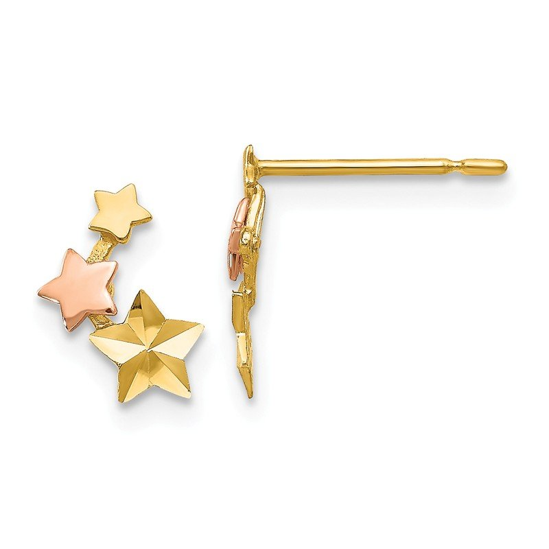 Quality Gold 14k Yellow & Rose Gold Madi K D/C Children's Star Post Earrings