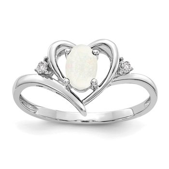 14k White Gold Opal and Diamond Heart Ring