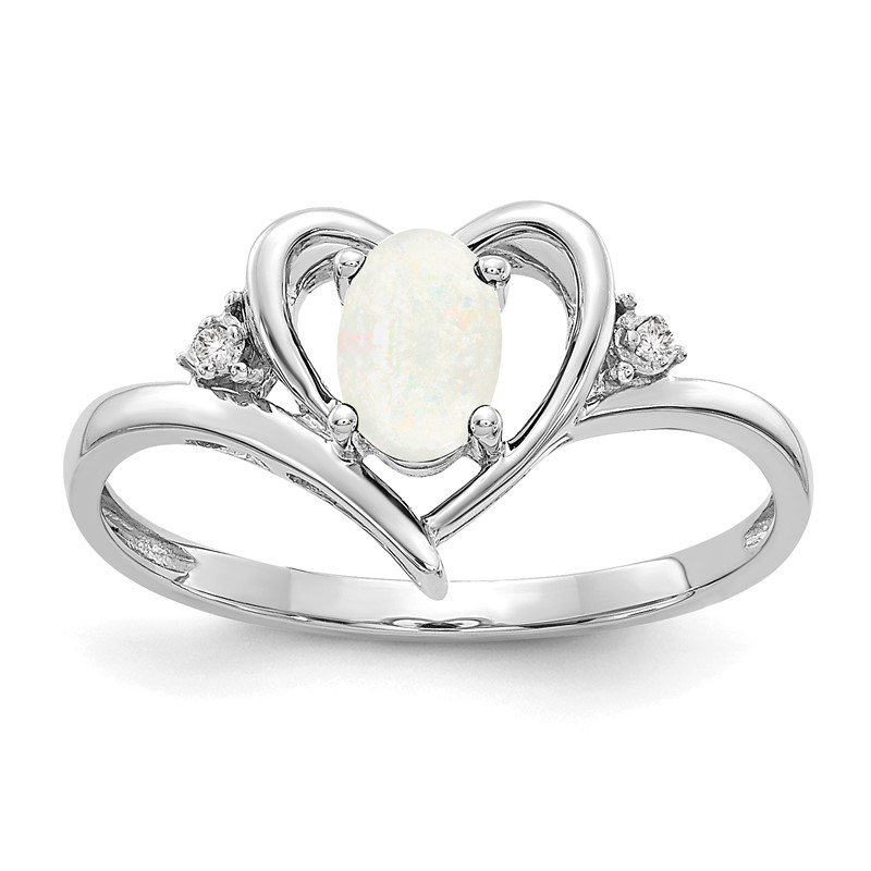 Quality Gold 14k White Gold Opal and Diamond Heart Ring