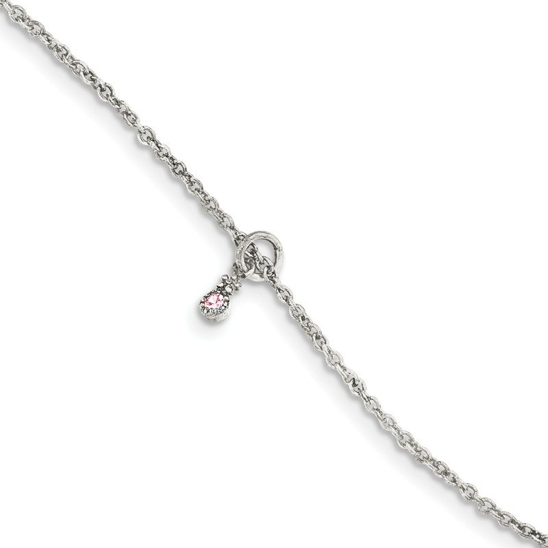 Arizona Diamond Center Collection Sterling Silver Pink CZ w/ 1.5in ext. Flower Kid's Bracelet
