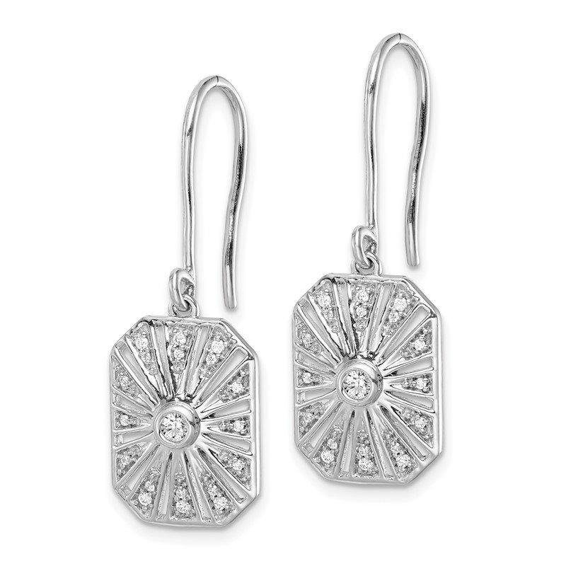 Quality Gold 14k White Gold Diamond Vintage Earrings