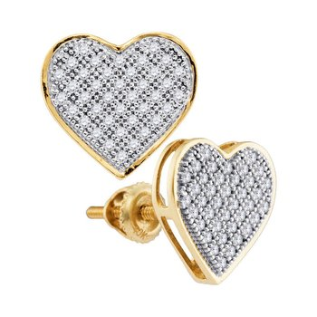 14kt Yellow Gold Womens Round Diamond Heart Cluster Screwback Earrings 1/4 Cttw