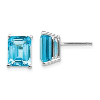 14k White Gold 9x7mm Emerald Cut Blue Topaz Earrings