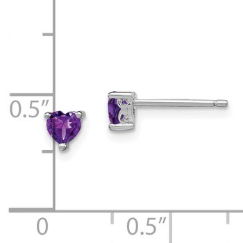 Sterling Silver 4mm Heart Amethyst Post Earrings