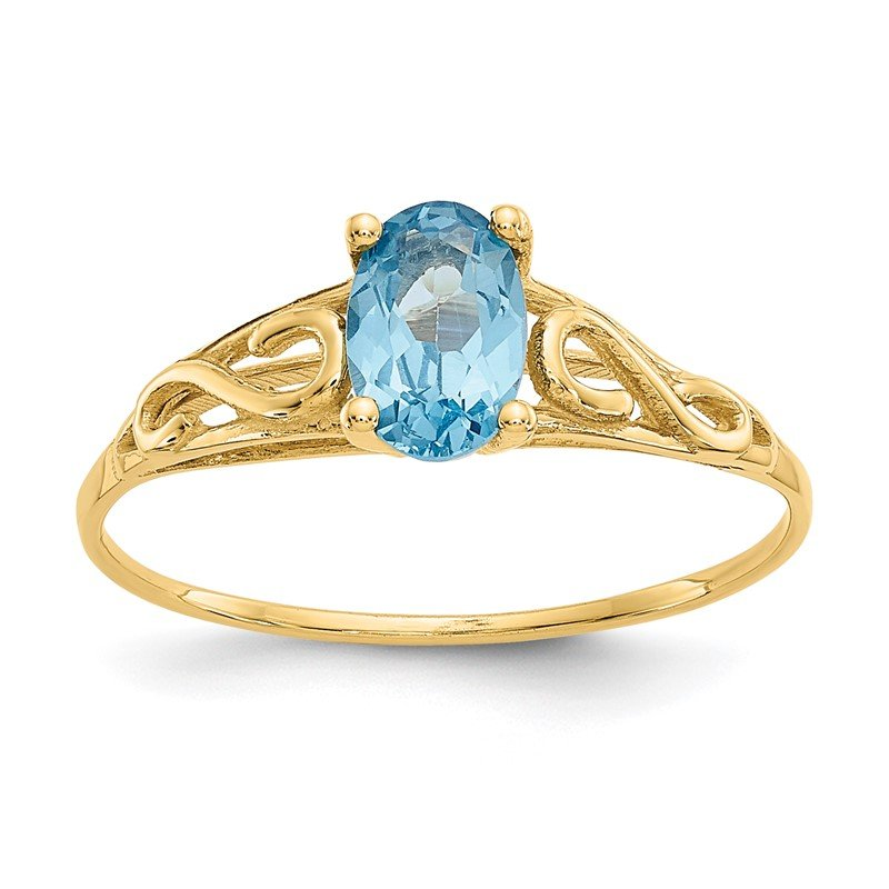 Quality Gold 14k Madi K Synthetic Blue Zircon Ring