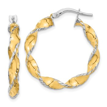 14k Two Tone Twisted Hoops