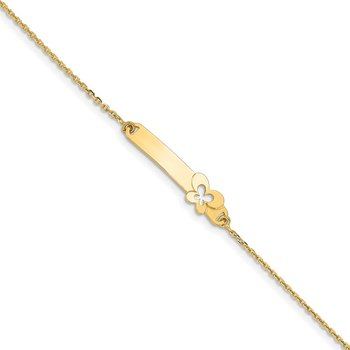 14K Children's Polished Flower w/1in ext. ID Bracelet