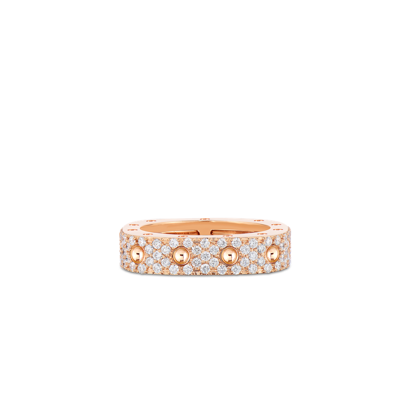 Roberto Coin 1 Row Square Ring With Diamonds &Ndash; 18K Rose Gold, 6