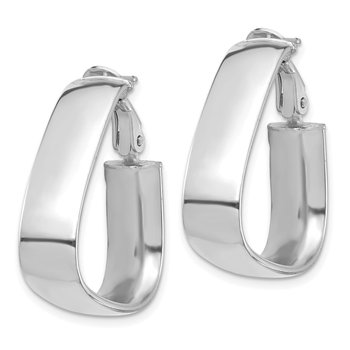 14k White Gold High Polished 7mm Omega Back Triangle Hoop Earrings